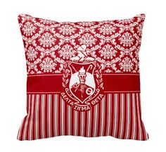 Delta Sigma Theta Sorority ΔΣΘ Damask & Stripes Shield Pillow from Designs by Dee's Hands. Delta Sigma Theta Gifts, Delta Sorority, Sorority And Fraternity, Sorority Life, Delta Girl, Damask, Personalized Gifts, Stripes, Pillows