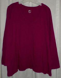 Plus Sz Top 3x Long Sleeve Casual JCP Slub Knit Purple Berry V Neck 22/24 #JCP #ThePlusSide