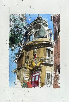 View: Paris Small Urban Sketch, Ink and watercolor on paper,2020 | Artfinder Sketch Ink, Urban Sketching, Impressionist, My Works, Marines, Watercolour, My Photos, Original Art, Display