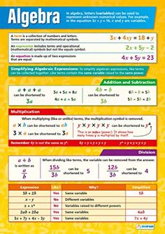 Our Algebra poster is an important part of our Math series. This colorful, captivating poster will ease students into areas of algebra that are difficult subjects to understand. The poster outlines the core terminology of Algebra and so much more. Math College, Math School, Gcse Maths Revision, Revision Notes, Simplifying Algebraic Expressions, Math Charts, Math Poster, Math Formulas, Math Help