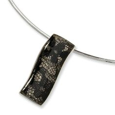 Sterling Silver Black Resin & Lace Slide Collar Necklace Versil. $68.86. Save 63% Off!