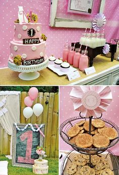 Rustic Milk and Cookies Party {Pink First Birthday}