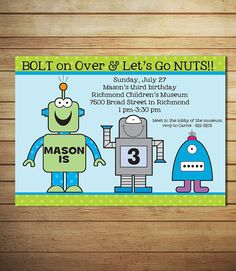 Robot Birthday Invitations- Robot Party Invitations - Robot Birthday Party- Printable