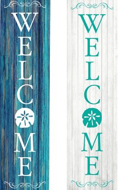 Welcome Signs Front Door, Wooden Welcome Signs, Front Porch Signs, Seaside Decor, Beach Wall Decor, Coastal Decor, Beach Porch, Beach Signs Wooden, Cottage Signs