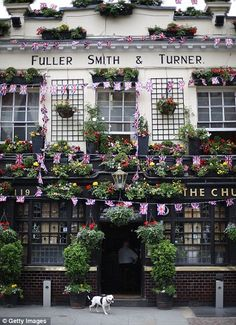 Proud display: The Churchill Arms pub decorated with Union Jack flags.  London, ENGLAND.
