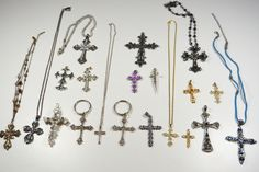 Rhinestone Crosses Crucifixes Lot of 20 Assorted Styles Sizes Religious Lot NICE