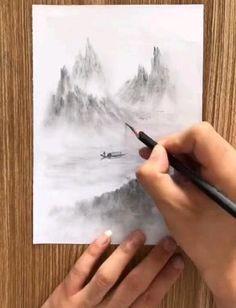 Cool Pencil Drawings, Art Drawings For Kids, Art Drawings Sketches Simple, Scenery Drawing Pencil, Drawing Techniques Pencil, Eye Drawings, Pencil Drawing Tutorials, Pencil Sketches Landscape, 3d Art Drawing