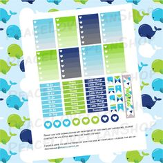 Nautical Whales MAMBI Happy Planner Printable by PeaceLovePlanShop