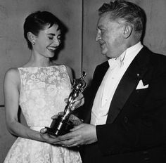 Audrey Hepburn {Oscar winner~Roman holiday} and Jean Hersholt ~ 26 .annual Oscar Awards