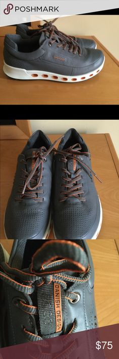 Ecco Danish Design fashion sneakers Sz 41 New with out box , grey with orange details , lace up ECCO shoes ❌Price firm Ecco Shoes