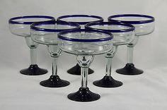Cobalt Blue Rim Margarita Glasses Set 6 Mexican Glassware Handmade