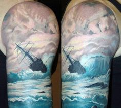 Sea Tattoo Sleeve, Ship Tattoo Sleeves, Ocean Tattoos, Arm Tattoos, Tatoos, Nautical Tattoos, Tattoos With Kids Names, Tattoos With Meaning, Trendy Tattoos