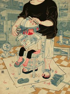 Victo NgaI Lol behind the chair!