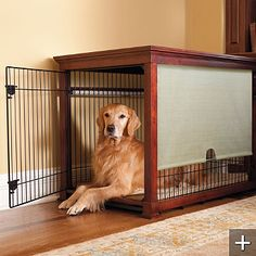 32 Rustic Indoor Dog Houses Design Ideas For Small Dogs To Have - Most people think of outdoor dog houses when they thing of a dog house. However, there are also indoor dog houses. Which are perfect if you want to ke. Dog Crate Cover, Dog Kennel Cover, Large Dog Crate, Living Room Blinds, Bedroom Blinds, Outdoor Blinds, Blinds Design, Dog Cages, Bamboo Blinds