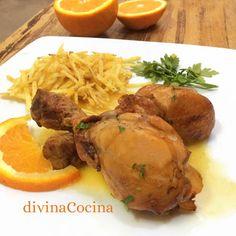 Esta receta de pollo al horno a la naranja es facilísima de preparar y el asado resulta jugoso y muy sabroso.