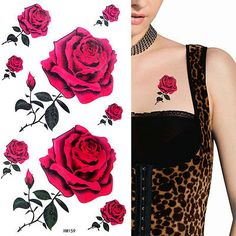 Ladies-Red-RoseTemporary-Tattoos-Waterproof-Anti-perspiration-Fancy-Party