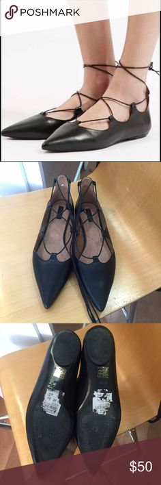 Topshop ghille lace-up leather flat Only worn a handful of times and in great condition, box not included. Size 40, fits like a 9. Black smooth leather. These are a great staple for any closer. Topshop Shoes Flats & Loafers