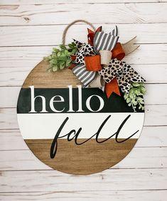 Rustic Fall Decor, Rustic Farmhouse Decor, Rustic Doors, Wood Doors, Fall Wood Signs, Fall Door Hangers, Home Decor Signs, Hello Autumn, Tray Decor