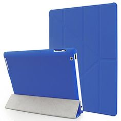 Vicoo® iPad 2/3/4 Origami Case.Super Slim Fit Folio Perfectly Fine Origami Cover with Rubberized&Upholstered Back and Smart Feature (Built-in magnet for sleep / wake feature). - Royal Blue ** Click image for more details.