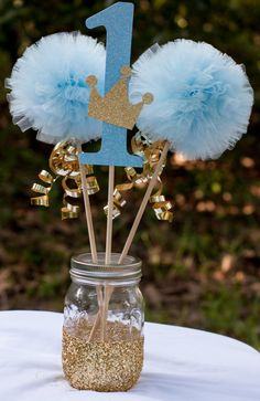 Prince Birthday Party Blue and Gold Baby Boy Centerpiece Table Decoration Más