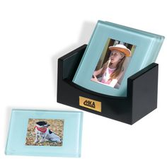 "PL-8201 Photo Coaster Set. Four jade glass coasters with frosted bevel edges, skid-proof protective feet. Coasters hold 2"" x 3"" photos. Includes a hardwood box."