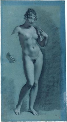 "Pierre-Paul Prud'hon (1858-1823) ""Female Nude"" Black, white and pale pink chalk, some stumping, on blue paper. 23 x 12 inches"