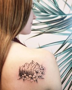 Fine line mountain scenery tattoo with cherry blossoms done by Vancouver tattoo artist Jamie Kan Mountain Sleeve Tattoo, Geometric Mountain Tattoo, Tattoos Geometric, Geometric Tattoo Design, Mountain Tattoo Design, Design Tattoos, Xoil Tattoos, Cute Tattoos, Beautiful Tattoos