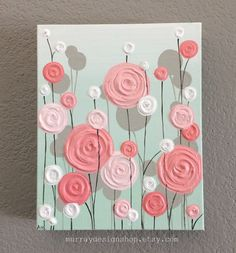 Nursery Wall Art, Mint and Coral Textured Flowers, 8x10 Acrylic on Canvas, Ready to Ship