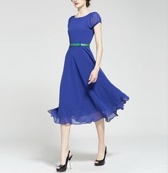 Spring summer chiffon dress lady women