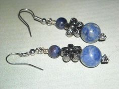 Sodalite Flower Earrings - Blueberries And Blossoms - Healing Blue Earrings Third Eye Chakra Calming Stone Sodalite Earrings Peace Earrings