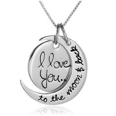 "Let your loved ones know how much you care with these beautiful I Love You To The Moon Necklaces. Sterling silver necklace featuring two-piece moon pendant engraved with loving message of ""I love you...to the moon & back"" Box chain with spring-ring clasp"