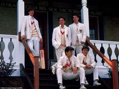 First look: A new book called Thirty Years On: A Private View of Public Schools has documented life behind closed doors at some of the nation's finest learning establishments. This snap shows the 1st XI cricketers and 1st VIII oarsmen at Radley sporting discrete plain white blazers with only an embroidered magenta badge linking them to their sport