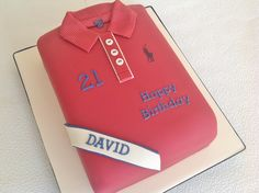 I made this shirt cake for a friend's nephew's 21st...