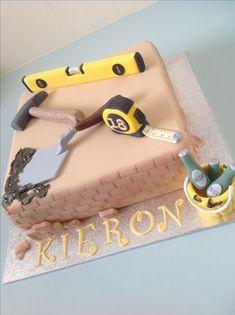 Bricklayers cake Cakes To Make, How To Make Cake, Birthday Cakes For Men, Cakes For Boys, Fondant Toppers, Fondant Cakes, Cupcake Cakes, Cake Design For Men, Dad Cake