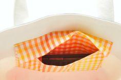 オレンジ×白×グレーの3色トート - 『komihinata』の手作り*布小物