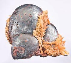 Hematite with yellow Calcite crystal framing. From the N'Chwaning Mines, Kuruman, Kalahari manganese fields, Northern Cape Province, South Africa