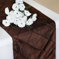 """Wholesale Chocolate Taffeta Pintuck Table Runner For Wedding Catering Party Decorations - 12""""x108"""""""