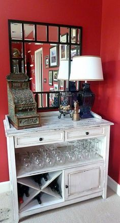 Furniture upcycle to a wine bar!! Im looking for something like this right now going to be my coffee bar too!