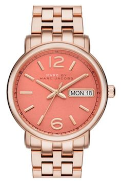 Burnt orange rose gold watch