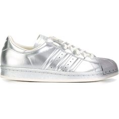 Adidas Originals Superstar 80s Sneakers (375 BRL) ❤ liked on Polyvore featuring shoes, sneakers, metallic, lace up shoes, leather sneakers, 80s sneakers, 80s shoes and 1980s sneakers