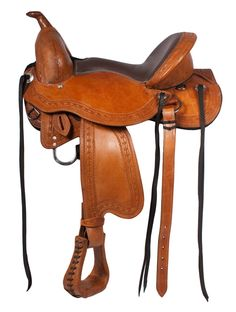 Padded deep cantle and slick leather softee seat ensure a pleasurable trail ride. Some of the special features are: 3 way in skirt rigging, soft felt bottom, border tooling, and new design to eliminate any pressure points. Treeless saddles are recommended for hard to fit horses and for riders who are looking for a close contact ride. This saddle comes complete with, headstall, reins, breast collar complete back cinch and billets. Model 3103. ONLY $399.99