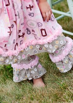 New Spring Summer Children Girl Ruffle Pants sz 2t, 3t, 4t, 5t, 6, 7, 8 Charlotte line accented with shabby chic rose trim