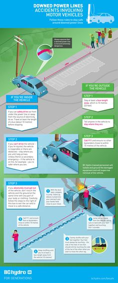 Downed lines from a traffic accident #infographic