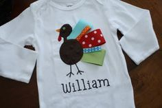 this turkey shirt is so cute... I could gobble it up... fabric applique with ribbon