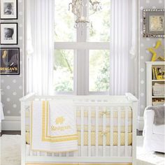 Hudson's crib bedding...but in yellow ...of course with grey <3