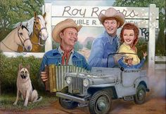 Pat Brady, Roy Rogers, and Dale Evans with Trigger, Buttermilk, Bullet, Nellybelle, and the Double R Ranch art