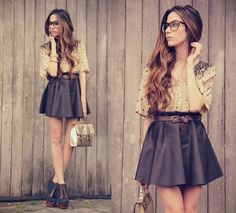 20 Outfits with Skirts for Trendy Chic Spring Look - Style Motivation Hipster Outfits, Mode Outfits, Skirt Outfits, Looks Street Style, Looks Style, Style Me, Girl Style, Look Fashion, Fashion Beauty