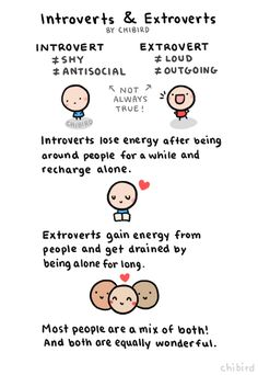 An informative drawing about introverts and extroverts. ^^ Many people lean towards either introverted or extroverted but have qualities from both. | chibird on Tumblr
