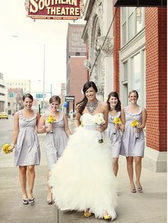 Independent Designer: Real Wedding: Light Gray Bridesmaid Dresses by Amanda Archer