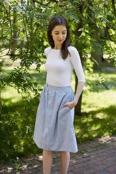 Marie Zelie spódnica prążki blekitne